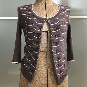 Anthropologie Cotton Scalloped Knit Cardigan